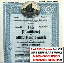 RARE COLLECTION of WW2 NAZI OCCUPIED DANZIG BONDS at $7.49 EA.! INCREDIBLE PRICE