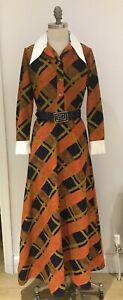 """RARE VINTAGE 1970s LANVIN DRESS, WITH BELT, SIZE 19"""" FROM ARMPIT TO ARMPIT"""