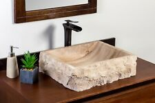 Natural Stone Vessel Bathroom Sink - Rustic Lerdo Travertine