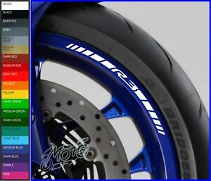 8 x YAMAHA R3 Wheel Rim Decals Stickers - 20 colours available - yzf r3 320