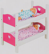 Wood Dolls Bed Bunk Bed Bed Doll Bed with Accessories White/Pink 2 Pieces New