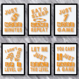 Orange Gaming Prints Boys Bedroom Games Room Poster Gamer Wall Art Bedroom Decor