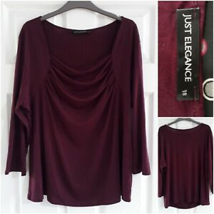 Just Elegance Plum Purple Top Size 18 Long Sleeves Cowl Neck Stretchy Smart