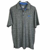 Under Armour Polo Golf Shirt Medium Heather Gray Blue Loose Stretch Heat Gear