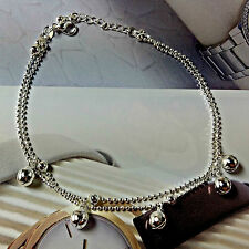 Double Layer Silver Plated Anklet Bracelet Chain with Bells Fashion Ankle # S027