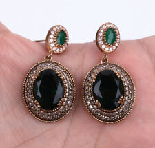 OVALS EMERALD TOPAZ .925 SILVER & BRONZE EARRINGS #22498