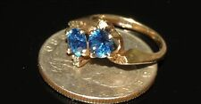 Vintage Estate 10K Y Gold Blue Spinel Clear Spinel Ring 3.03 Gram 1.35 ct Size 5