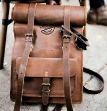 Leather Roll Top Backpack Rucksack Laptop College Bag Durable Handmade