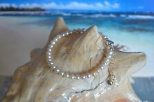White Freshwater Pearl & .925 Sterling Silver 4 to 6 Inch Bracelet + Heart Charm