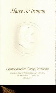 #1499 First Day Ceremony Program 8c Harry S. Truman Stamp w/FDC