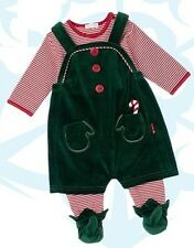 NWT Le Top Baby Boy Santa's Helper Footed Coverall & Elf Overall Size 3 Months