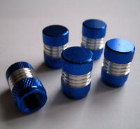 Blue/Silver Alloy Dust Valve Caps for Mini Roadsteer Coupe Paceman One First S D