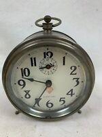 Vintage Ingraham ACE 8 day Windup Alarm Clock peg leg RARE -Works  315