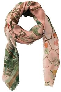 GUCCI Tree of Life Womens Wool & Silk Shawl Scarf in Roseate, Made in Italy