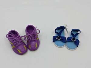 2 Pairs of hard plastic tennis shoes and Fabric Sandal for Journey Girl Dolls