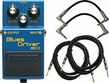 Boss BD-2 Blues Driver Guitar Effect Pedal Bundle with Four FREE Cables Inc