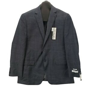 Collection By Michael Strahan Classic Fit 48 S Mens Sport Coat Plaid Gray Blue