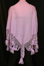 Vtg 70s Wrap Scarf Purple Glentex Sweater Knit Boho Cape Triangle Piano Shawl