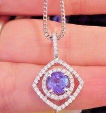 Redondo Tanzanita Y Diamante Collar con colgante en 18ct Oro Blanco - hm1320