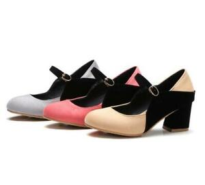 Ladies Block Heel Round Toe Stitching Color Buckle Strap Mary Janes Light Pumps