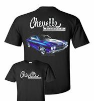 T-Shirt w/ 1970 Chevelle & Chevrolet Emblem (Black W/ Blue Car)