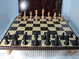 Vintage Elegant Wooden Chess Set and Board with Storage Compartments GMB2
