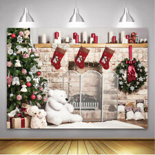 Christmas Fireplace Backdrop Xmas Tree Gifts Wooden Floor Photography Background