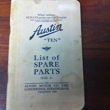 AUSTIN TEN LIST OF SPARE PARTS Motor Co Birmingham Manual Auto Car