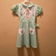 VTG Plum Blossoms Toddler Girls Dress Green & White Gingham SZ 22 Jumper Look