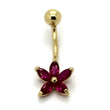 14K Solid Yellow Gold  Navel Belly Ring, Star Flower with Five Ruby Color CZ