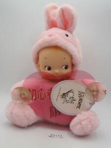 "Kewpie A2112 Pink Rabbit Vinyl Plush Figure 8"" TAG Car Messege Toy Doll Japan"