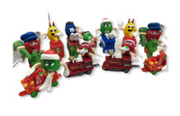 Vintage Lot M&M's Train Engines Christmas Theme Cake Toppers Green Girl-Mars