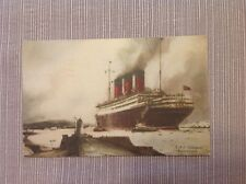 Vintage Postcard R.M.S. Berengaria Cunard Line Steam Ship Three Half Pence Stamp