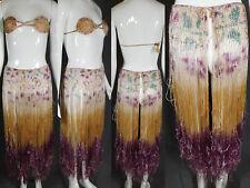 Vintage Wwii 1944 Philippines Hawaiian Silk Ombre Fringe Hula Skirt Bra Top Set