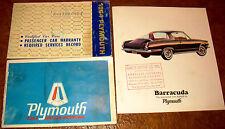 1964 64 Plymouth Barracuda Owners Set & Brochure Manuals Originals