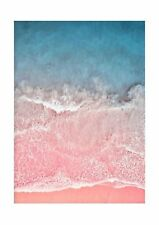 pink and blue ocean on sand photo print poster