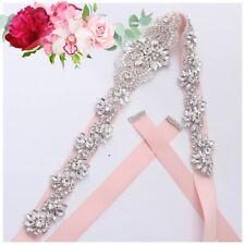 Bridal Wedding Bridesmaid Dress Sparkly Elegant Crystal Pearl Applique Sash Belt