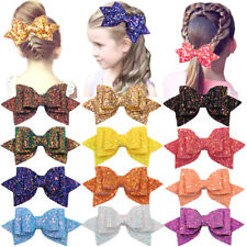 12Lot Girls 5'' Hair Bows Large Big Bling Sparkly Sequin Glitter Hair Bows Clips