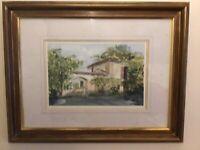 Framed original Signed watercolour painting David N Waite old Italian Courtyard