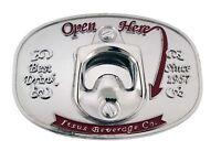 Bottle Opener Belt Buckle Open Here Can Opener Metal Silver Fashion Mens Womens