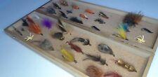 Vintage lot of 35 fishing flies in vintage cork lined box