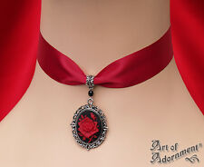 Gothic BLACK RED ROSE CAMEO SATIN CHOKER Pendant Necklace Antique Silver C76