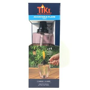 """Tiki Adjustable Flame Torch 2 In 1 Tabletop Or 64"""" Full Size Pole Geo Rose Glass"""