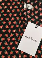 PAUL SMITH BLACK STRAWBERRY SKULL PRINT SILK POCKET SQUARE MADE IN ITALY BNWT
