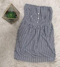 SILENCE + NOISE Anthropologie Sz Medium Mini Dress Gray Black Striped Strapless