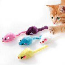 10X Pet Furry Cat Toy Mice Small Mouse Kitten Interactive Play Toys Color Random