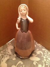 Vintage Nao Figure By Lladro Girl Wearing A Headscarf And Apron 24.5cm High