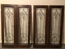 Set Of 4 Antique Leaded Glass Cabinet Doors