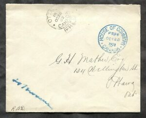 p1256 - Canada 1902 Cover - Ottawa FREE-Frank - House of Commons in Blue