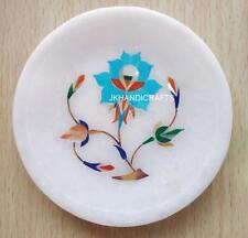 "Round 5"" White Marble Serving Plate Turquoise Floral Inlaid Kitchen Decor Gift"